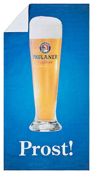 """Paulaner Liegetuch, Weißbierglas """"Prost"""""""