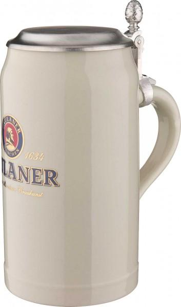 Paulaner Steinkrug mit Zinndeckel 1,0 l